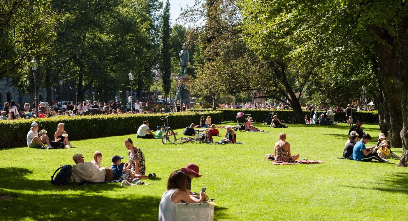 People in Helsinki park