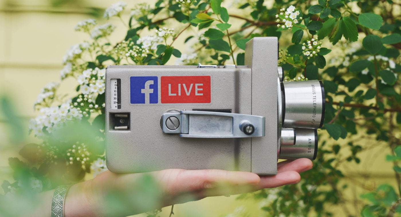 Retro video camera with Facebook Live logo